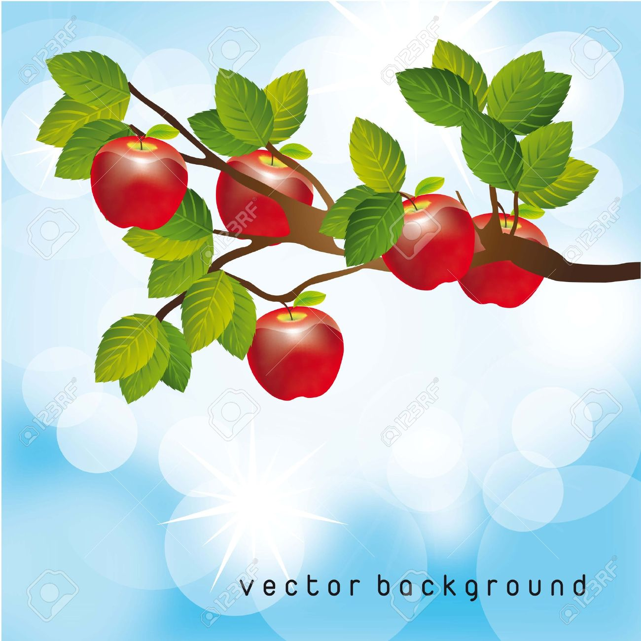 Clipart apple tree with sky.