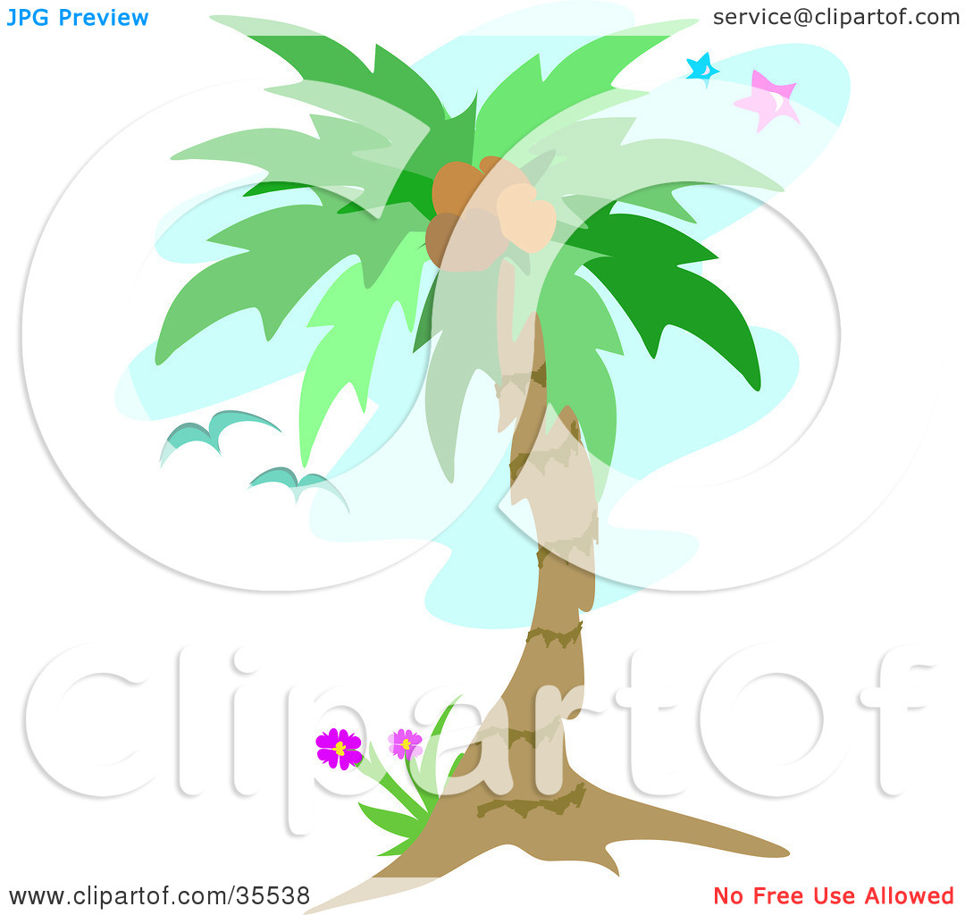 Clipart Illustration of Birds Flying Near A Coconut Palm Tree Over.