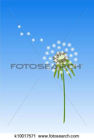 Clipart of Dandelion flower with blue sky k10017571.