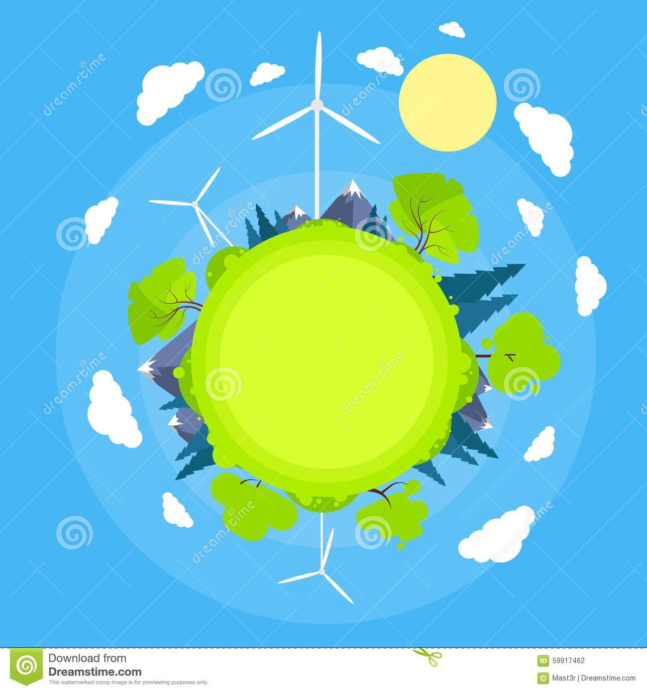Wind Turbine Tower Blue Sky Sun Green Grass Energy Stock Vector.