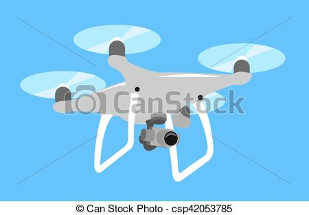 Vector of Gray drone quadcopter fly in blue sky. quad isolated.