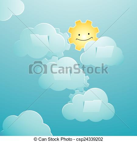Vector Clipart of sunny sky background featuring technology.