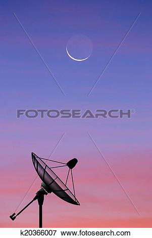 Picture of Satellite dish sky sun stars communication technology.