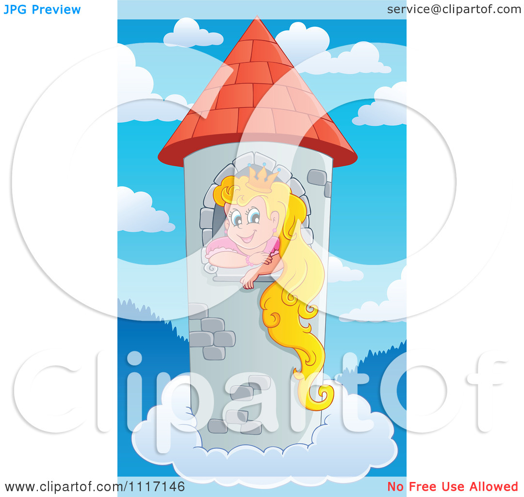 Vector Cartoon Of A Blond Princess In A Floating Sky Tower.