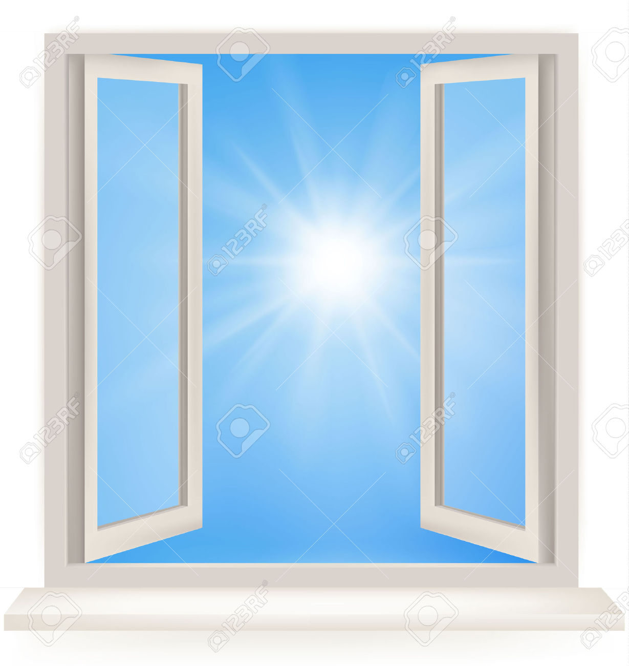 Open Window Against A White Wall And The Cloudy Sky And Sun.