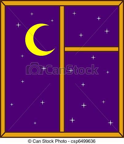 Clip Art Vector of Night sky in a window.