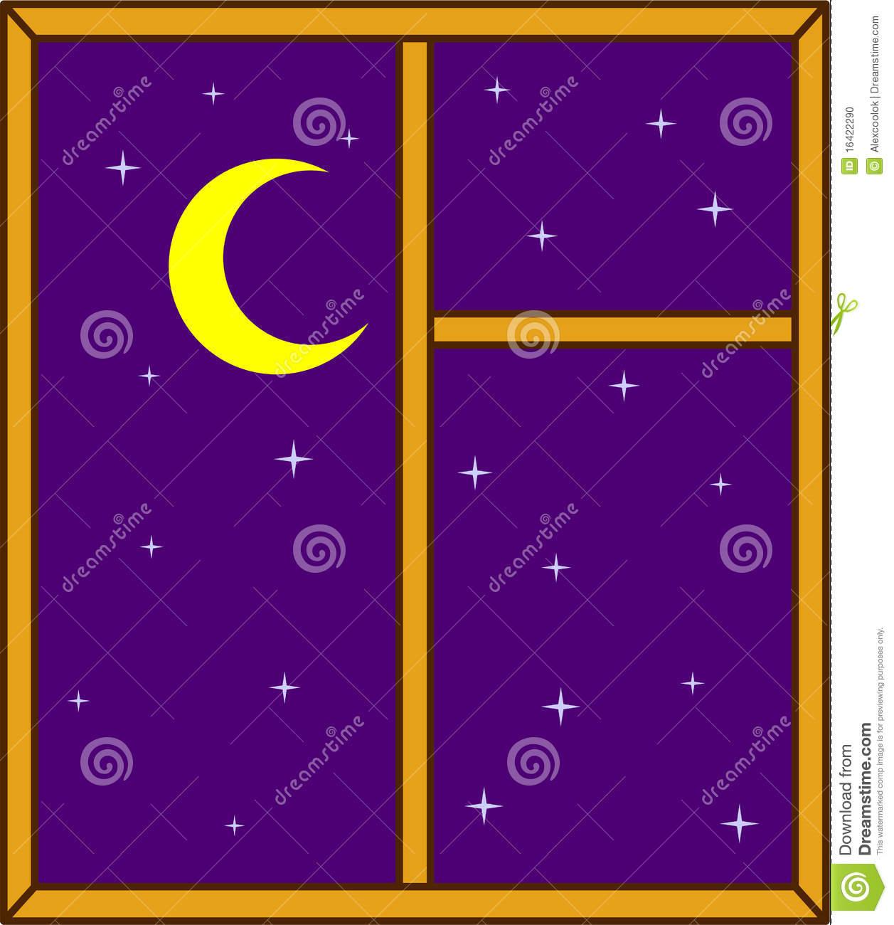 Night Sky In A Window Stock Photo.