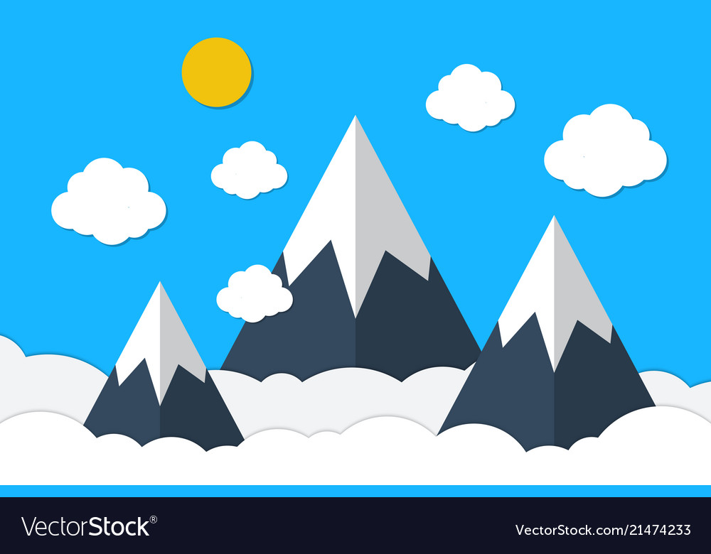 Blue mountains and sky clouds background.