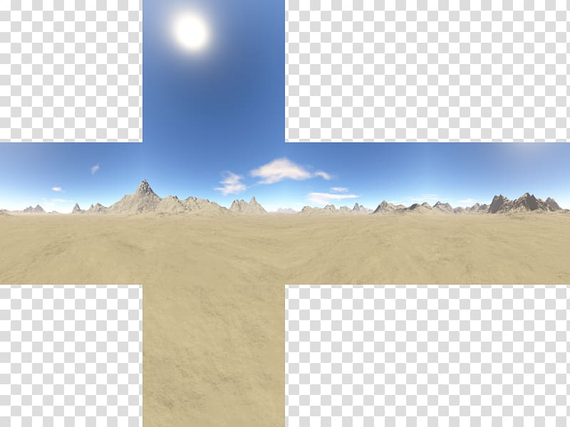 Brown sand dunes illustration, Skybox Texture mapping Cube.
