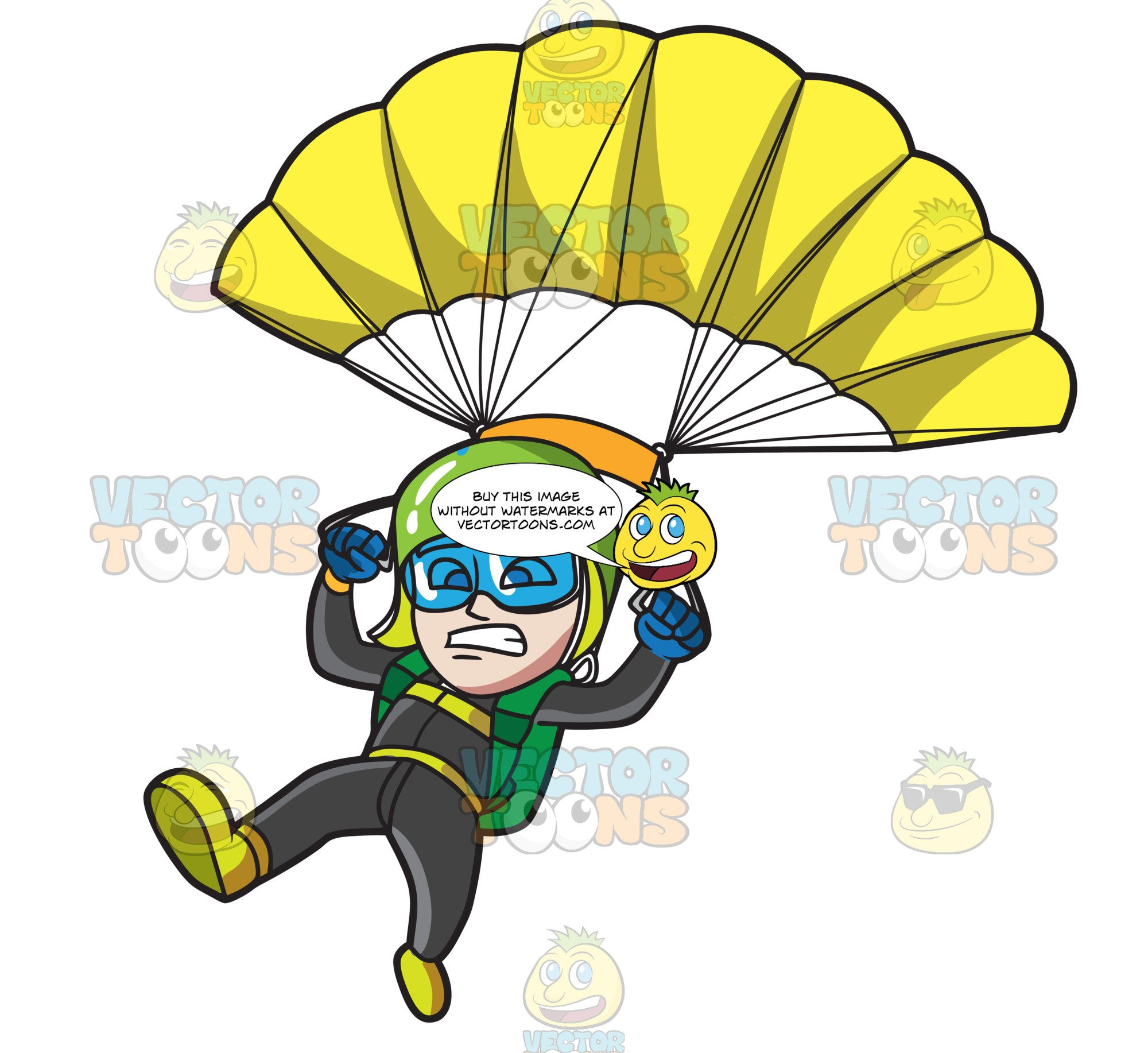A Scared Male Skydiver.
