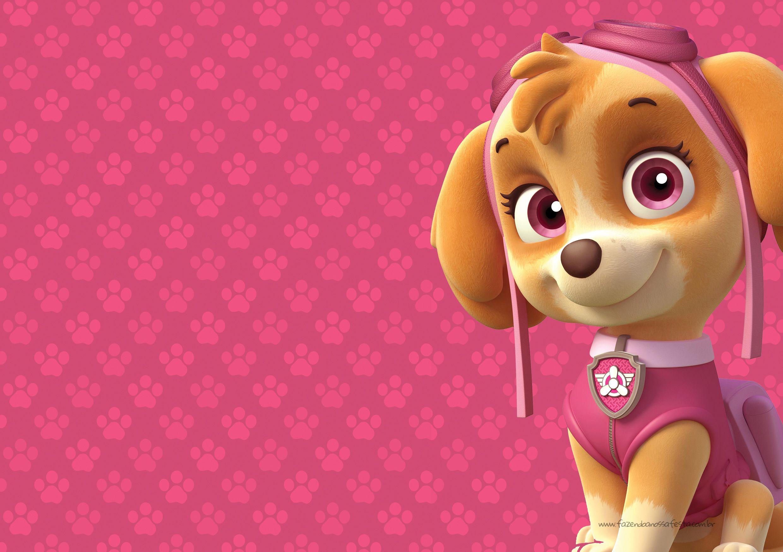 Convite Digital Festa Patrulha Canina para meninas.