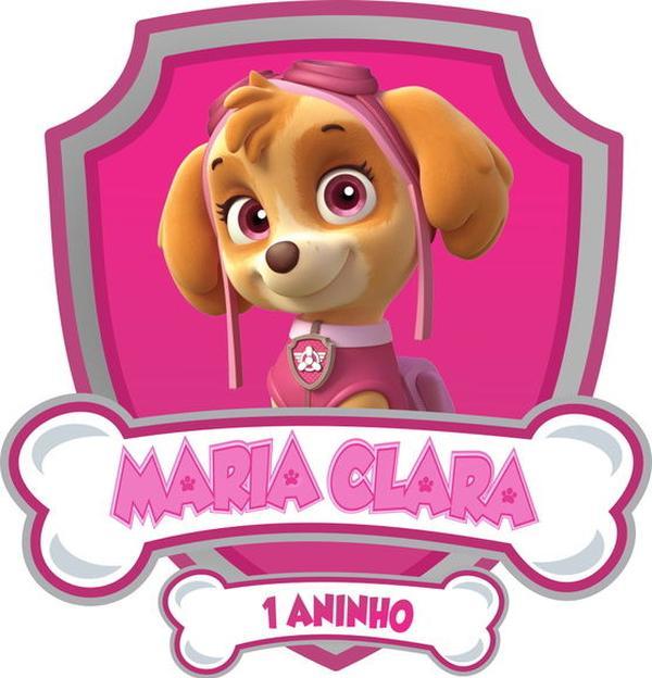 Arte Digital Personalizada Escudo Skye Patrulha Canina Rosa.