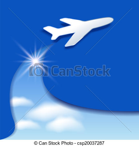Vector of Airplane and clouds sky.