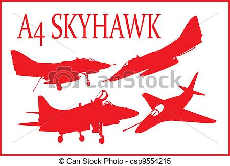 Clipart Vector of A4 fighter plane..
