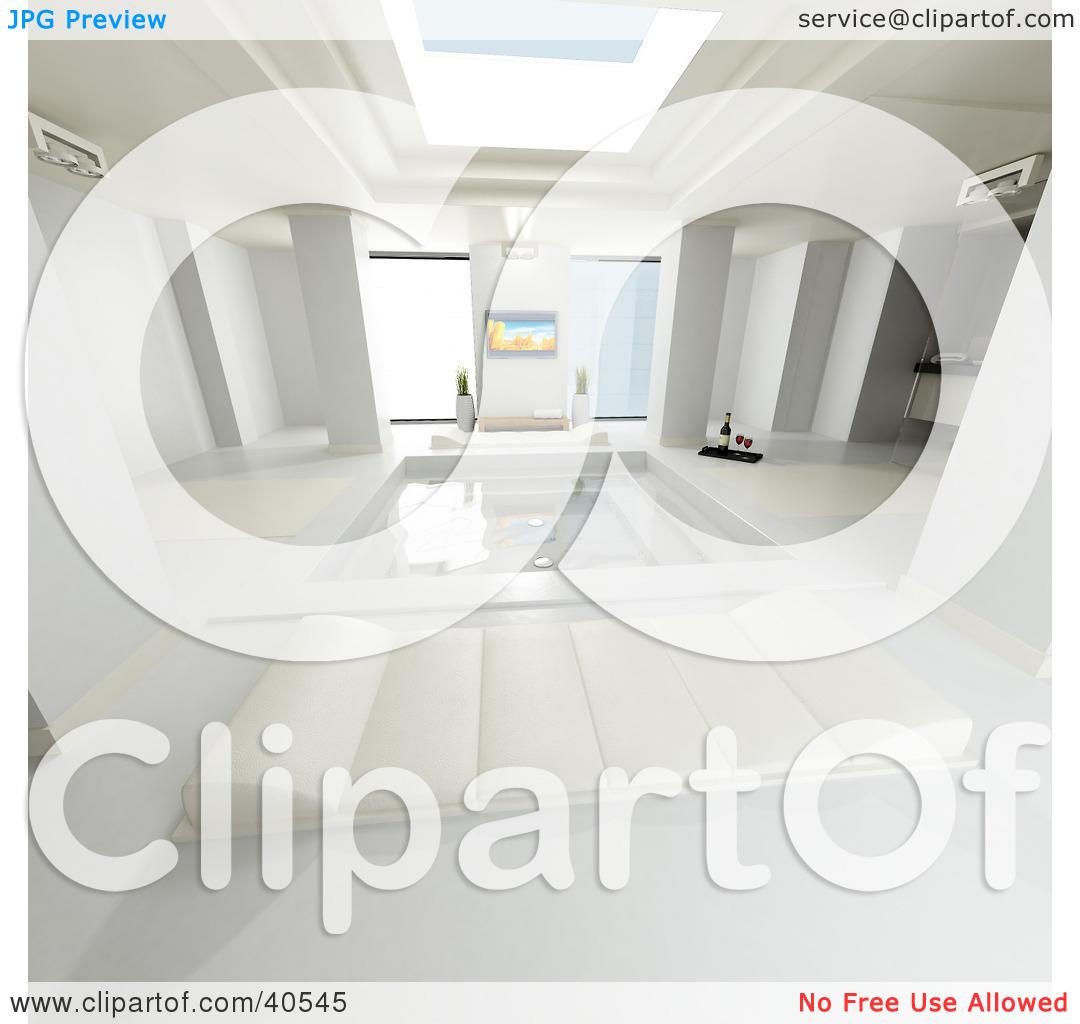 Clipart Illustration of a Luxurious 3d Bathroom With A Skylight.