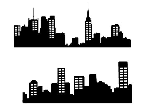 Free City Skyline Silhouette Vector.