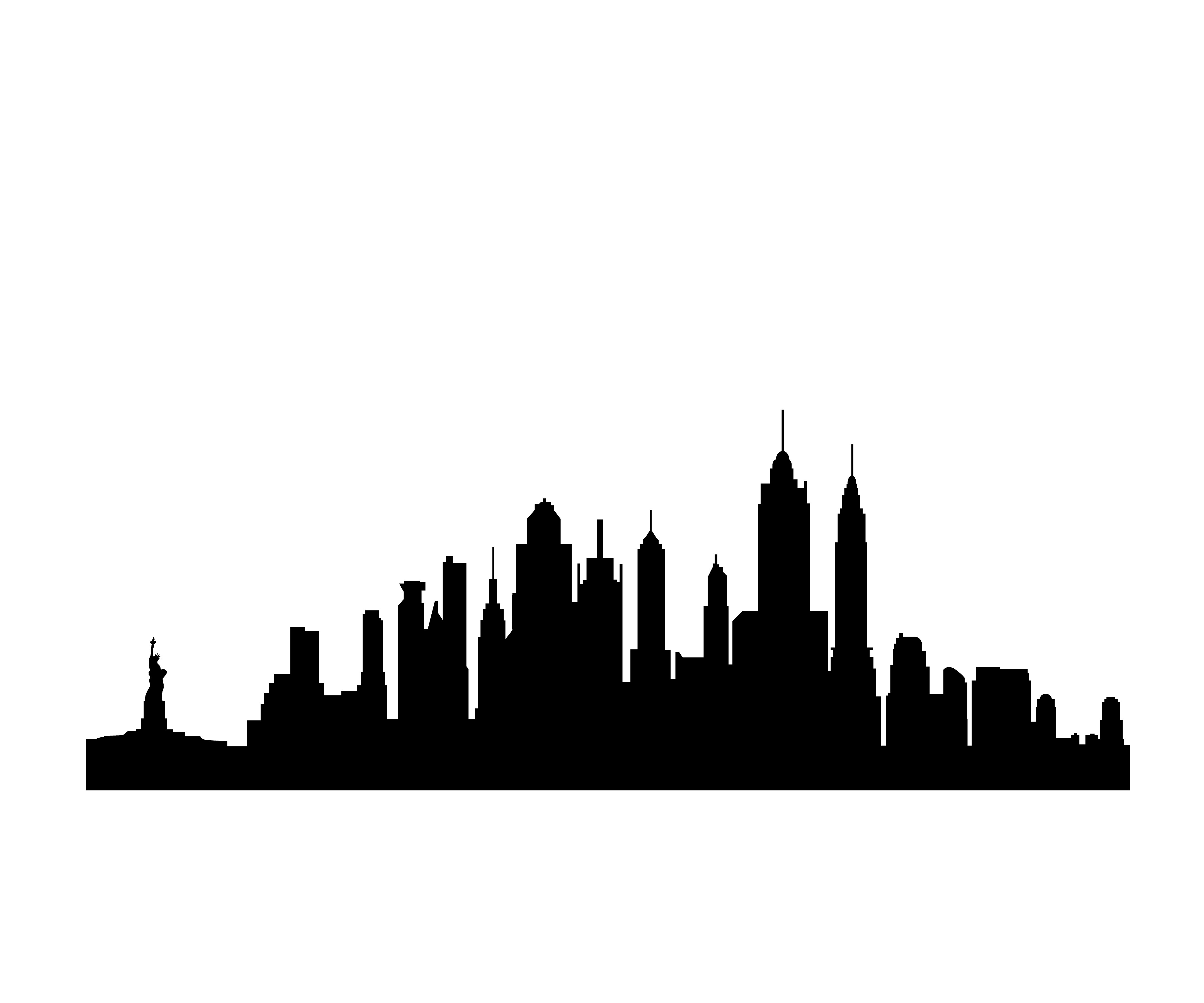 New York Skyline Silhouette Clipart free image.