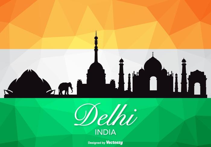 Free Vector Delhi Skyline Silhouette.