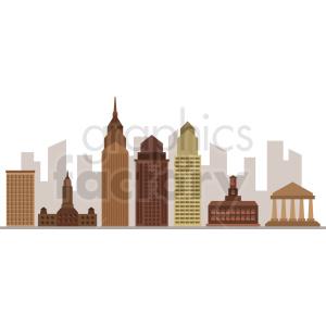 downtown philadelphia city skyline vector clipart. Royalty.