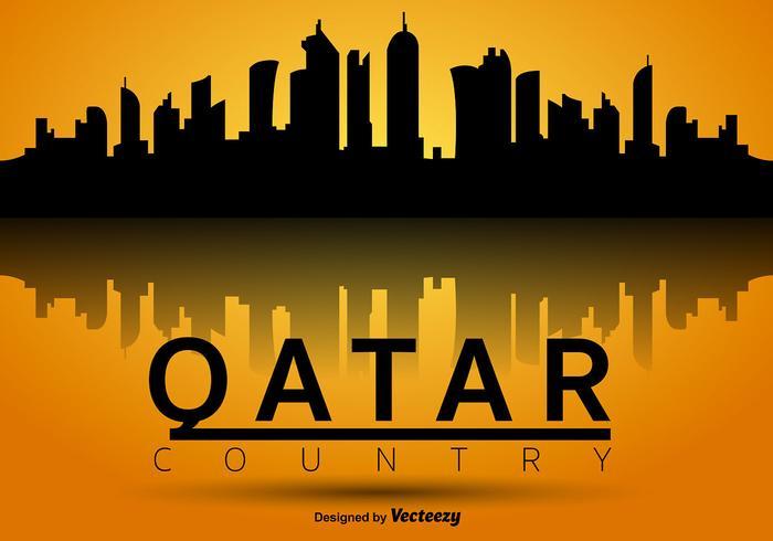 Qatar Vector Silhouette Skyline.