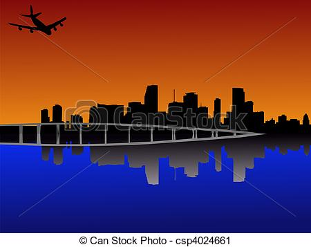 Clipart of Miami at sunset with plane.