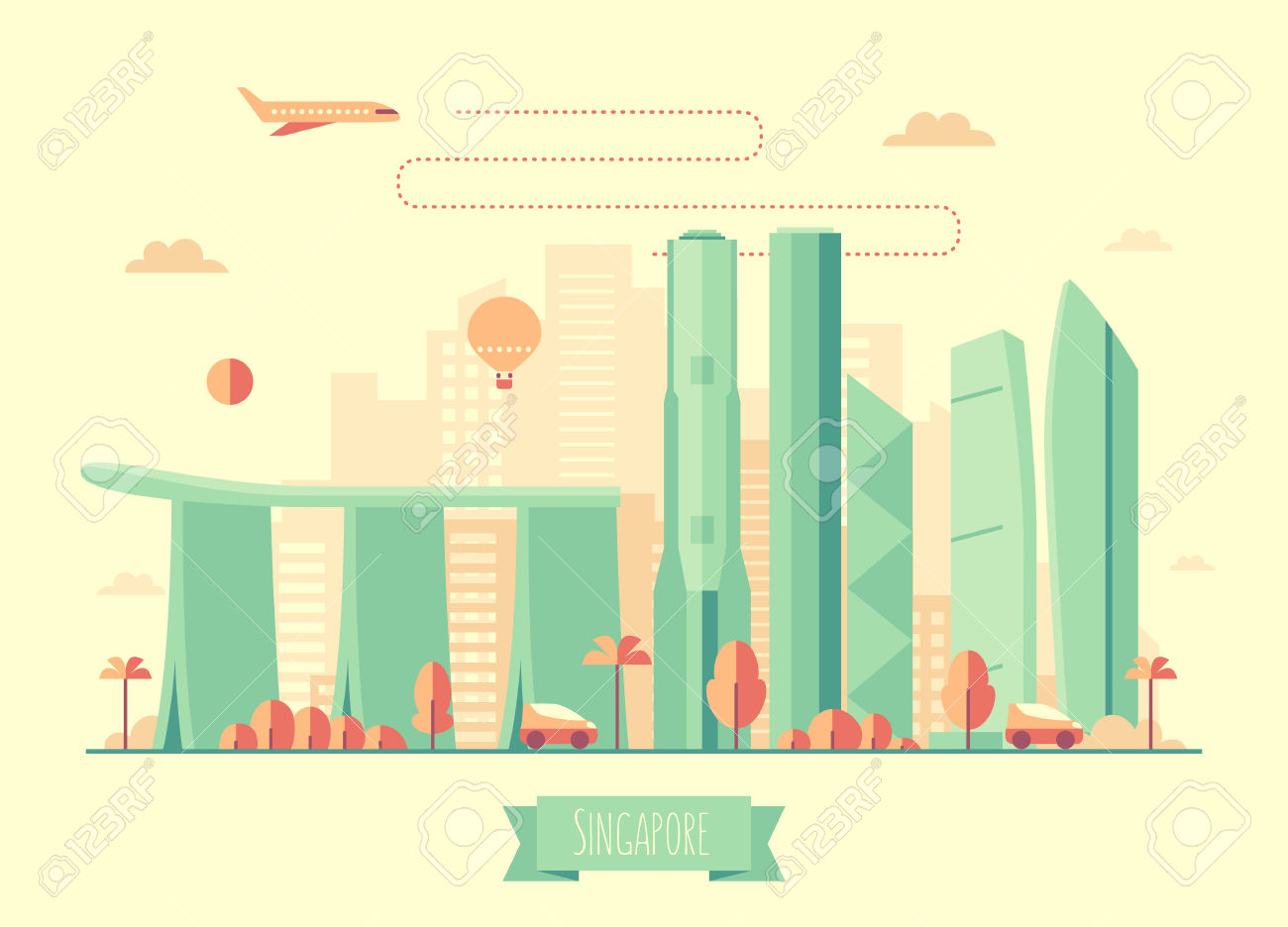 457 Singapore Skyline Stock Vector Illustration And Royalty Free.