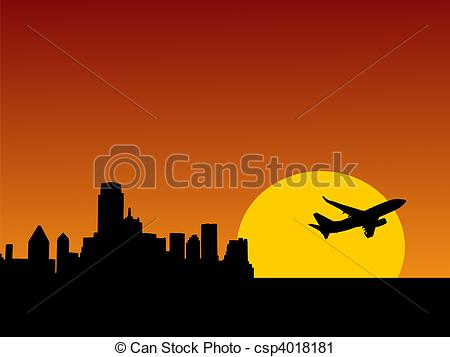 Clipart of plane taking off from Dallas.