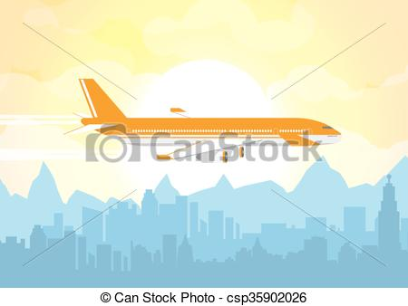 Skyline with plane clipart.