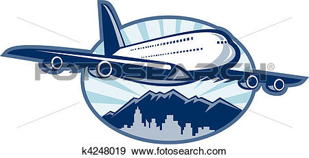 Stock Illustration of Jumbo jet plane airliner taking off with.