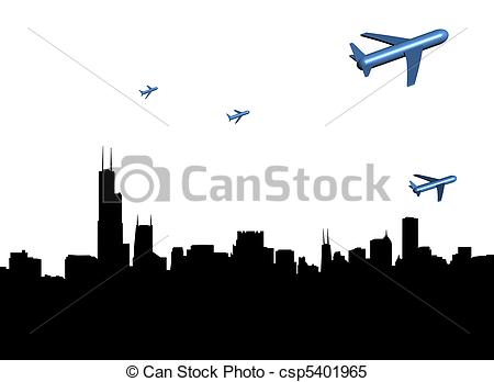 Stock Illustrations of planes departing Chicago skyline.