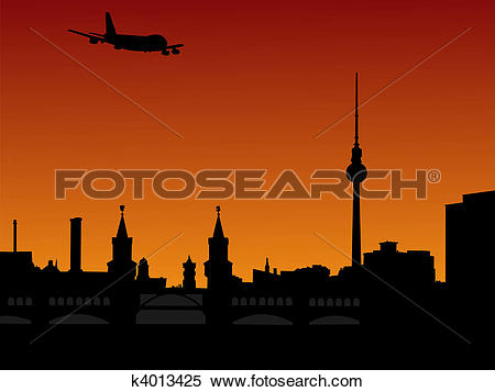 Stock Illustration of plane flying over Berlin skyline k4013425.