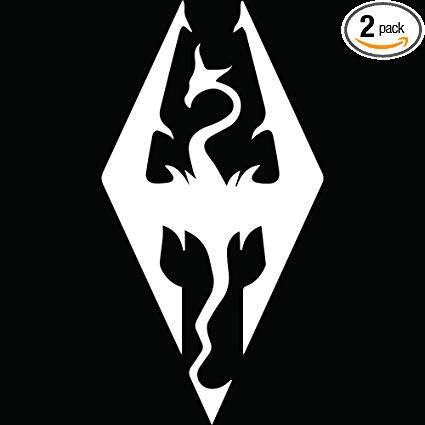 ANGDEST Skyrim Imperial Symbol (White) (Set of 2) Premium Waterproof Vinyl  Decal Stickers for Laptop Phone Accessory Helmet Car Window Bumper Mug.