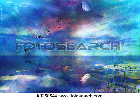 Drawings of Skyscape with Moon k3258544.
