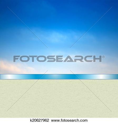 Clip Art of Blue skyscape banner k20627962.