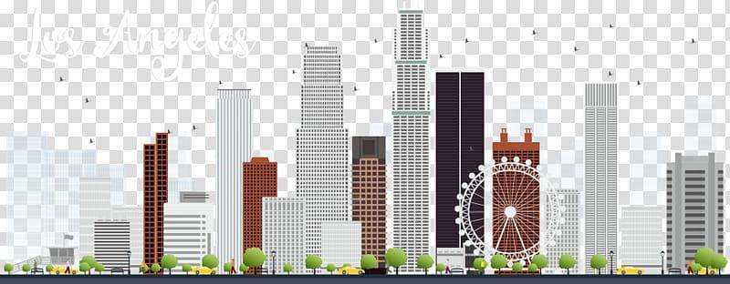 Los Angeles buildings illustration, Los Angeles Skyline.