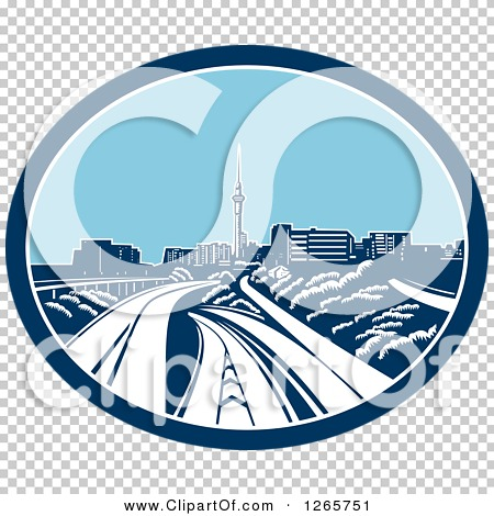 Clipart of a Retro Woodcut Scene of the Sky Tower and the Skyline.