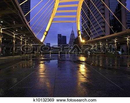 Stock Photograph of pubic skywalk at bangkok downtown square.