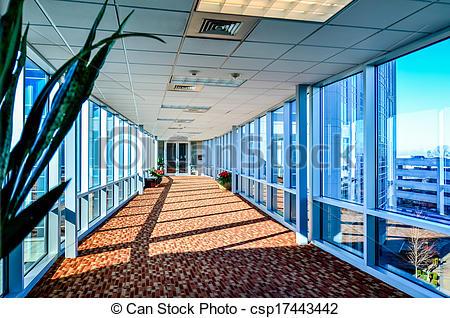 Stock Photo of modern corporate architecture skywalk.