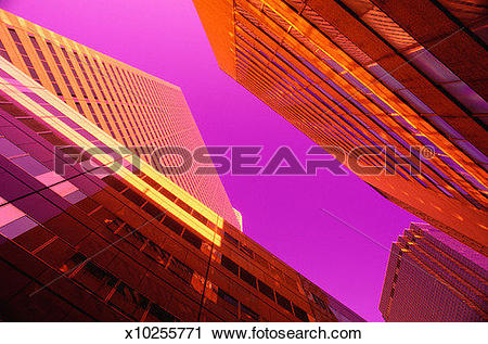 Stock Photography of Looking Skywards from Below Skyscrapers.