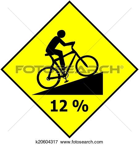 Clip Art of Bicycle Traffic Sign Show Uphill Sl k20604317.