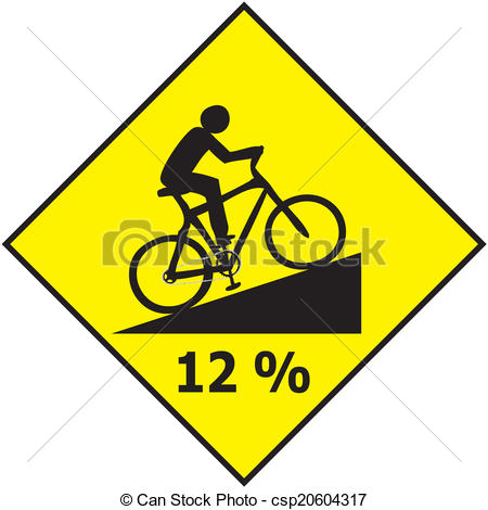Vector Clip Art of Bicycle Traffic Sign Show Uphill Sl.