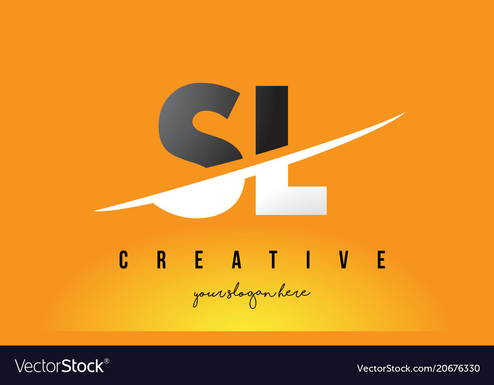 Sl s l letter modern logo design with yellow.