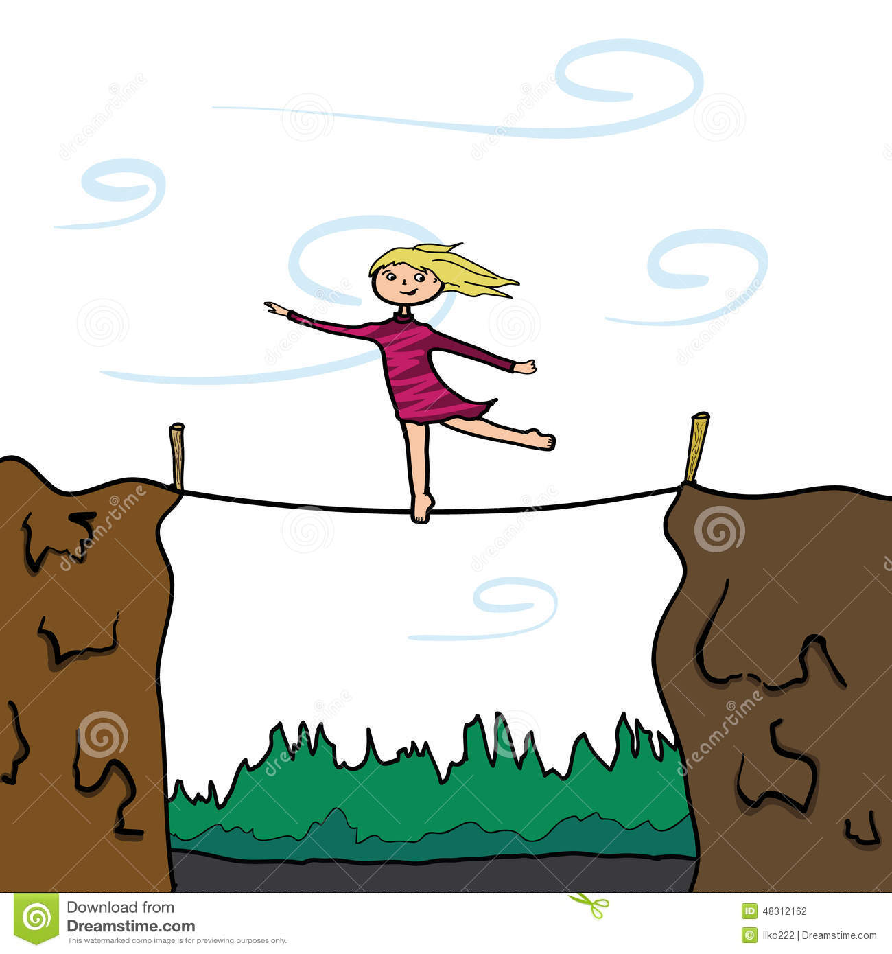 Keep Your Balance. Girl On A Slackline. Stock Illustration.