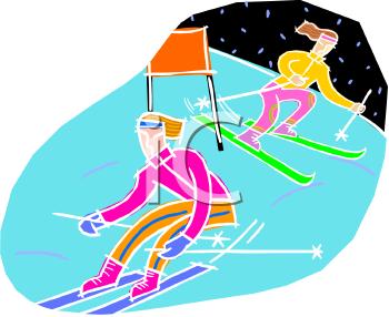 Slalom Racers Skiing Downhill.