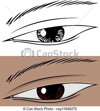 Vectors Illustration of Slanted Eye Close Up.