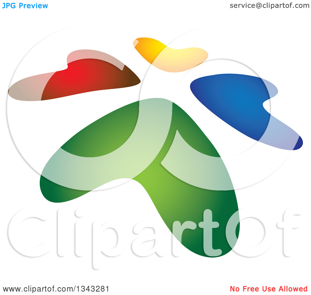 Clipart of a Slanted Circle of Colorful Hearts.