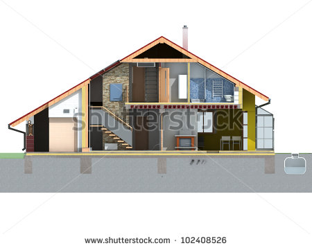 Front Section View House Pitched Roof Stock Illustration 102408526.