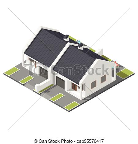 Vector Clip Art of One storey connected cottage with slant roof.