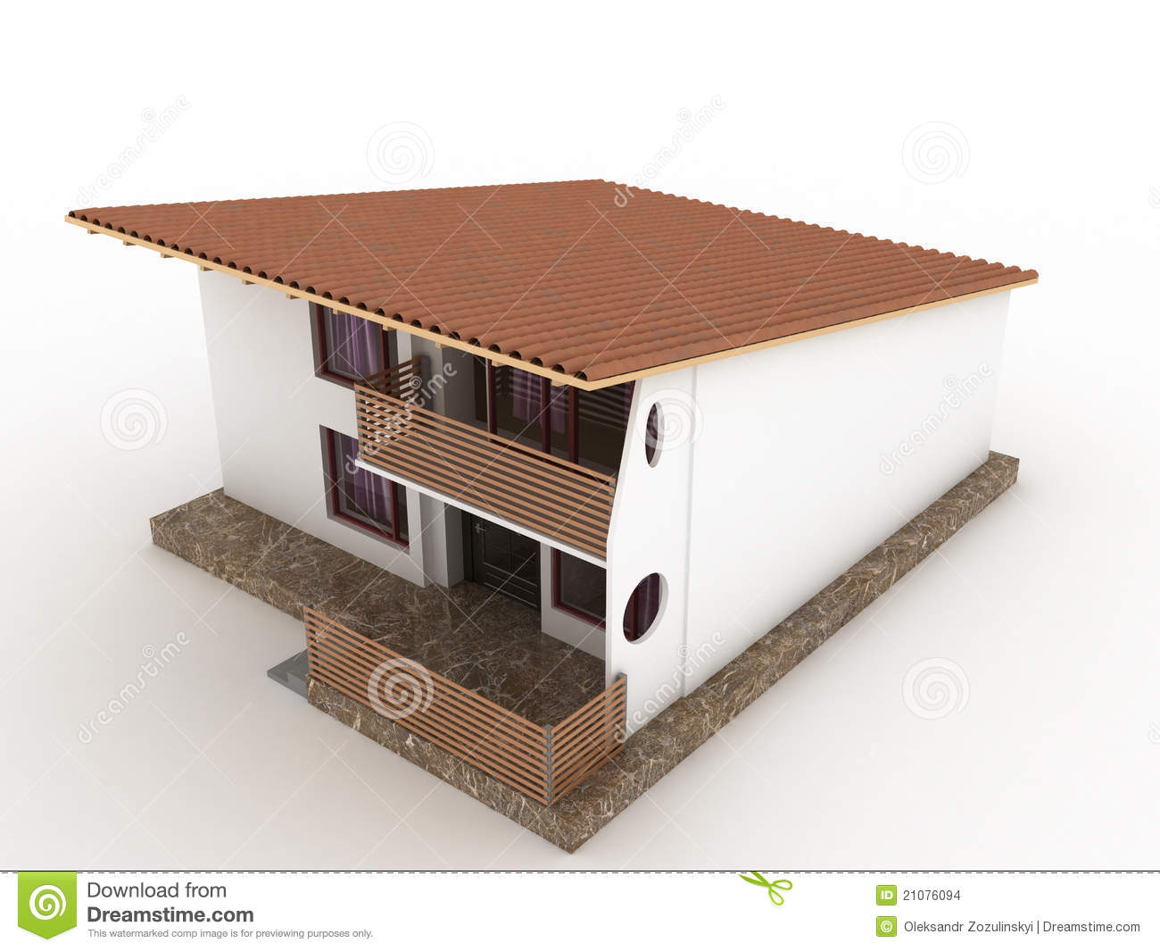 The House With Sloping Roof №1 Stock Images.