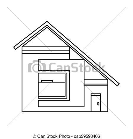 Vector Clipart of House with sloping roof icon, outline style.